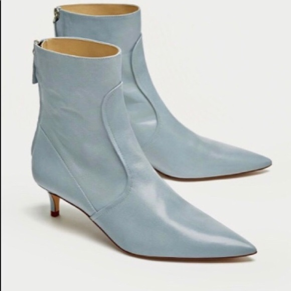 d86e8d99b2d Zara Shoes   Mid Heel Blue Real Leather Ankle Boots9nwt   Poshmark